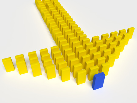 leading the way: 3d illustration of leader leads the team forward
