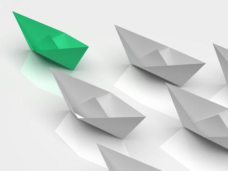 liderazgo empresarial: Concepto de la dirección. Una nave líder verde lleva otros barcos blancos hacia adelante