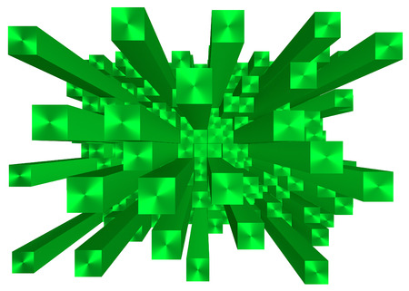 digitally generated image: Illustration of abstract mosaic 3d green background Stock Photo