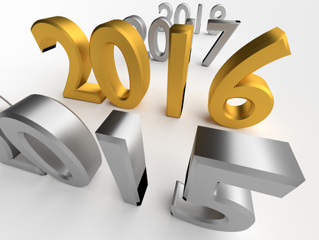 gold numbers: Gold numbers of New Year 2016 near grey old 2015