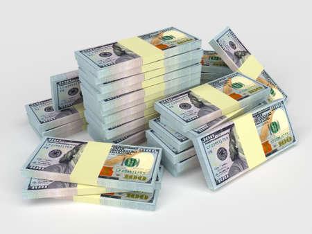 apilar: Mucho dinero pilas de dólares. Finanzas conceptual Foto de archivo