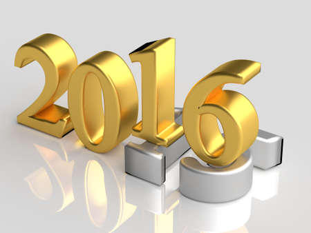 Gold 3d numbers of New Year 2016 over grey old 2015 with reflection