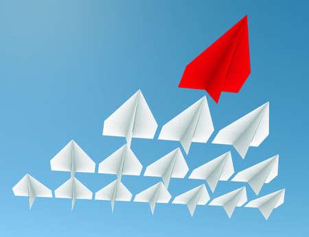 lider: Concepto de la dirección. Un avión líder rojo lleva otros planos blancos hacia adelante Foto de archivo