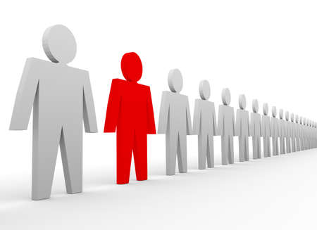group direction: Business concepts illustration. Leadership in team. Red and white people Stock Photo