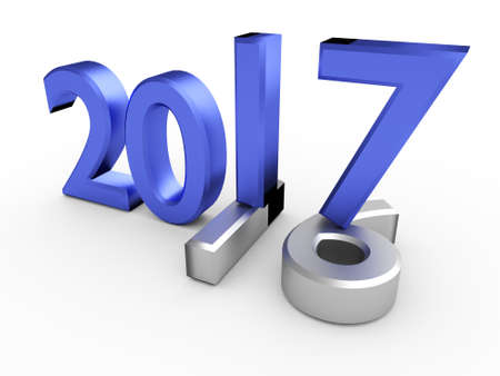 Blue 3d numbers of Year 2017 over grey old 2016 Stock Photo