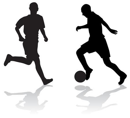 joueurs de foot: Silhouettes de deux joueurs de football � billes