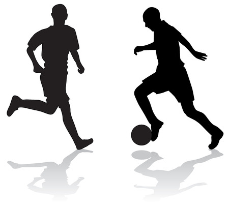 Silhouettes of two soccer players with ball Stock Photo