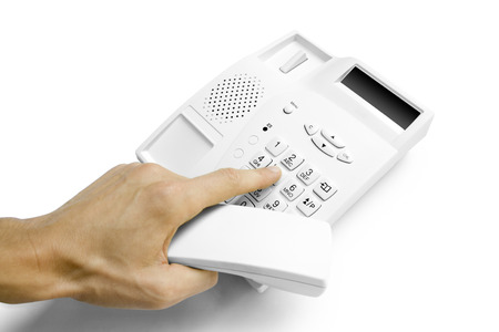 caller: hand with telephone isolated on white