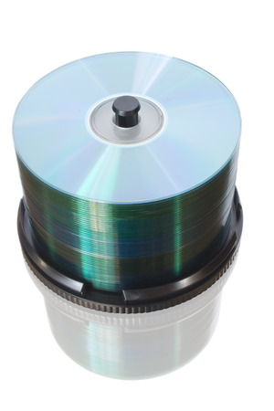 gigabytes: disks isolate on white with reflection Stock Photo