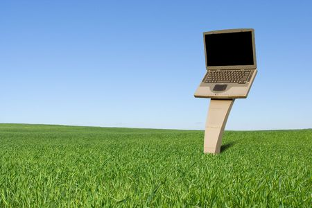 Laptop billboard on the green field photo