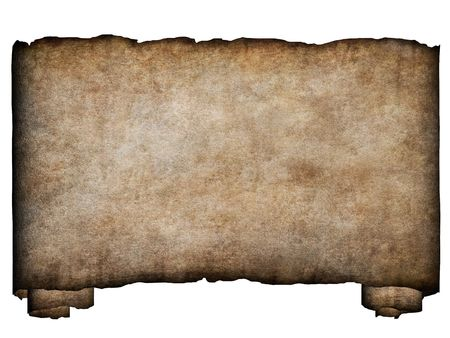 torn edges: A horizontal manuscript, rough roll of parchment paper with burnt and torn edges background texture