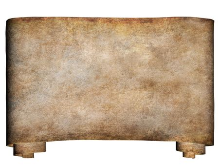 A horizontal manuscript, rough roll of parchment paper with dirty edges background texture photo
