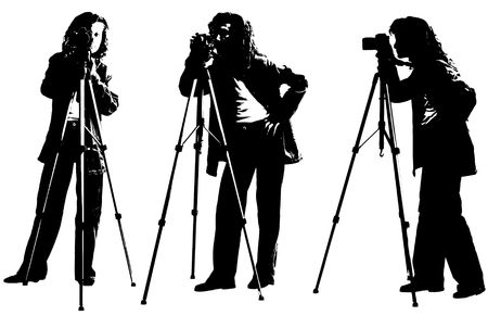 tripod: A woman photographer standing and shooting with a camera and a tripod, white background, BW image