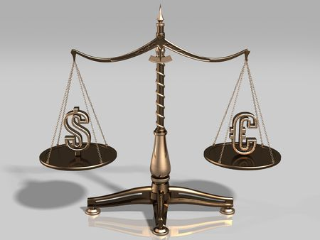 Brass scales with US dollar and euro symbols Stock Photo - 348412