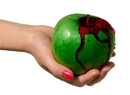 bleeding: Green apple bleeding in a hand