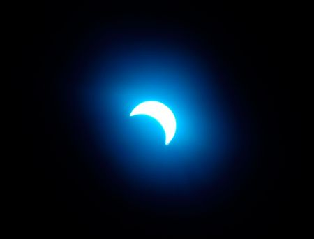 Blue solar eclipse, abstract light effect Stock Photo - 359823