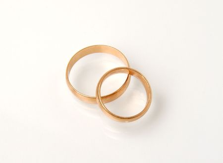 Wedding rings on white background Stock Photo