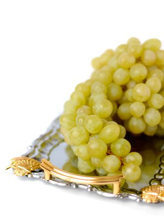 Green grapes on metal tray