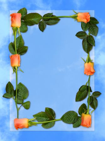 Sheet of blue paper with red roses, love letter background frame photo