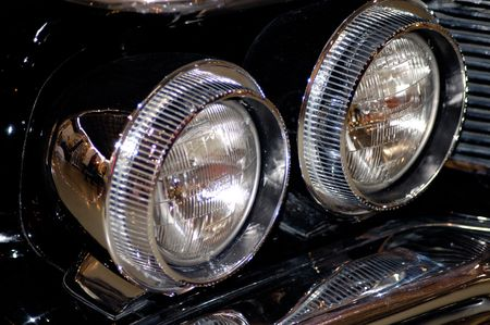 Old vintage black car headlight Stock Photo - 379852