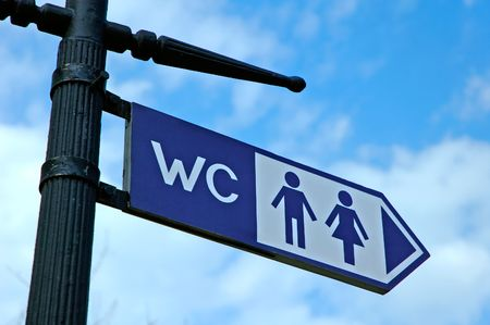 Blue WC sign metal plate photo