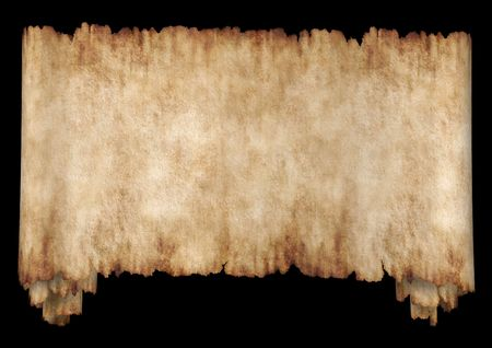 Old rough antique horizontal manuscript roll of parchment paper texture background isolated on black photo
