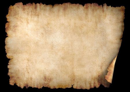 Old rough antique horizontal parchment paper texture background isolated on black photo
