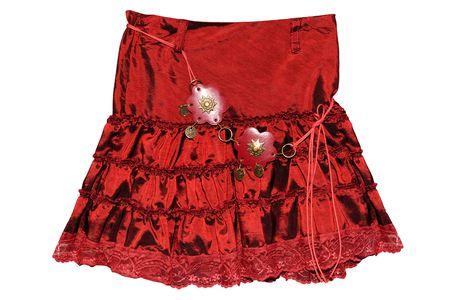 falda corta: Ropa para ni�os de corta falda roja aislados en fondo blanco