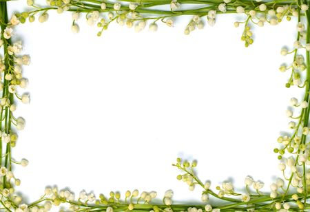 Lilies of the valley beautiful small white flowers making border framed isolated love letter horizontal background