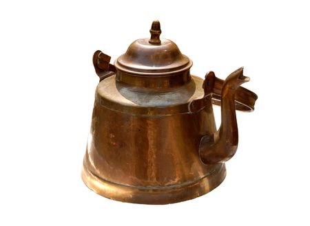 oxidized: Antique rustic retro copper kettle isolated on white background