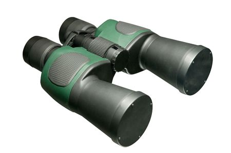 Black green modern plastic binoculars isolated on white photo