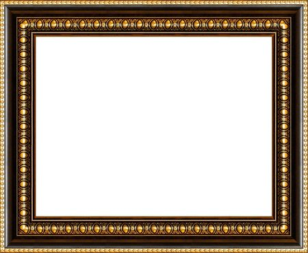 aureate: Antique wooden background photo frame with guilded pattern isolated border Stock Photo