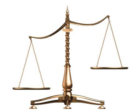 imbalance: Grote messing lege schalen onevenwichtige conceptuele geïsoleerd op witte achtergrond