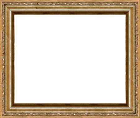 Antique wooden grungy background photo frame with guilded pattern isolated border photo