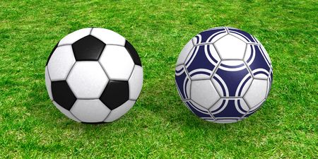 mondial: Two soccer balls on juicy green grass conceptual 3D rendering