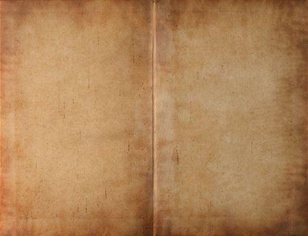 vintage parchement: Unfolded old ancient book cover - smudged parchment paper texture background Stock Photo