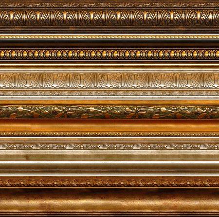 vintage foto: Antieke houten decoratieve grungy decoratieve elementen met gouden patronen photo frame grenzen