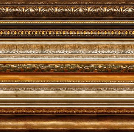 edge: Antique wooden decorative grungy decorative elements with golden patterns photo frame borders