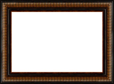 ornated: Antique wooden grungy background black photo frame with pattern isolated horizontal border