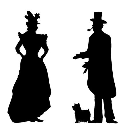 greet: Gentleman with a dog welcomes lady vintage artistic illustration black on white isolated contains paths Stock Photo