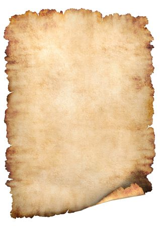 Old rough antique vertical parchment paper texture background isolated on white Stock Photo