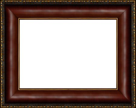 wood texture background: Antique wooden photo frame with guilded pattern isolated border