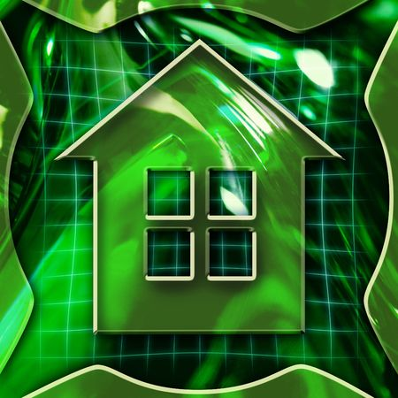 Green abstract graphic background with home icon deactivated Stock Photo - 558311