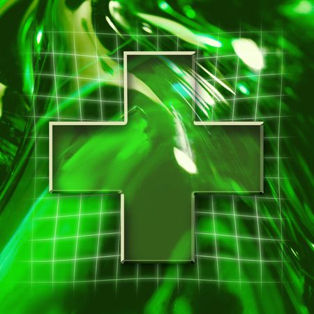 Green abstract graphic background with cross icon photo