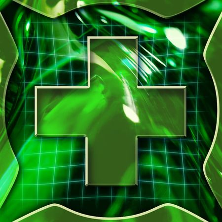 Green abstract graphic background with cross icon deactivated photo