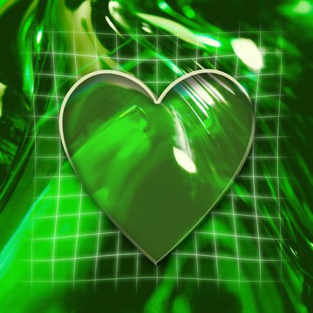 Green abstract graphic background with heart icon photo