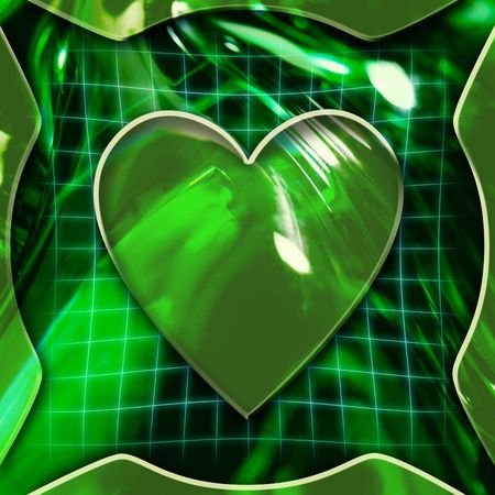 Green abstract graphic background with heart icon deactivated photo