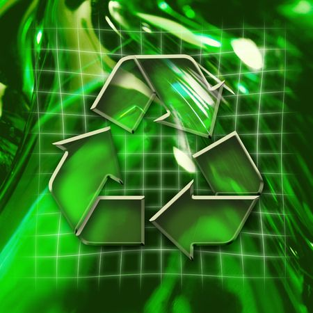 Green abstract graphic background with recycling icon