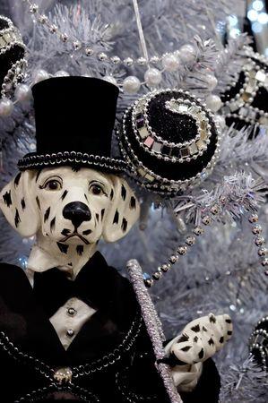Decorated christmas tree and a decorative dalmatian dog Stock Photo - 562254