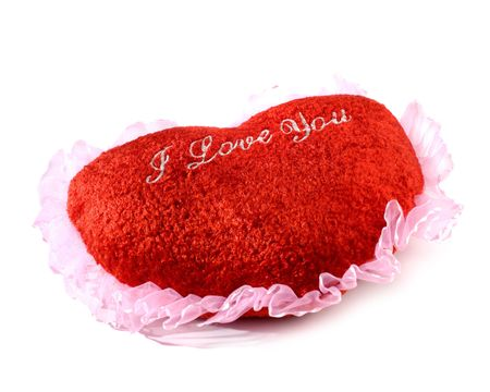 Red heart shaped cushion Valentine concept on white background Stock Photo - 643950